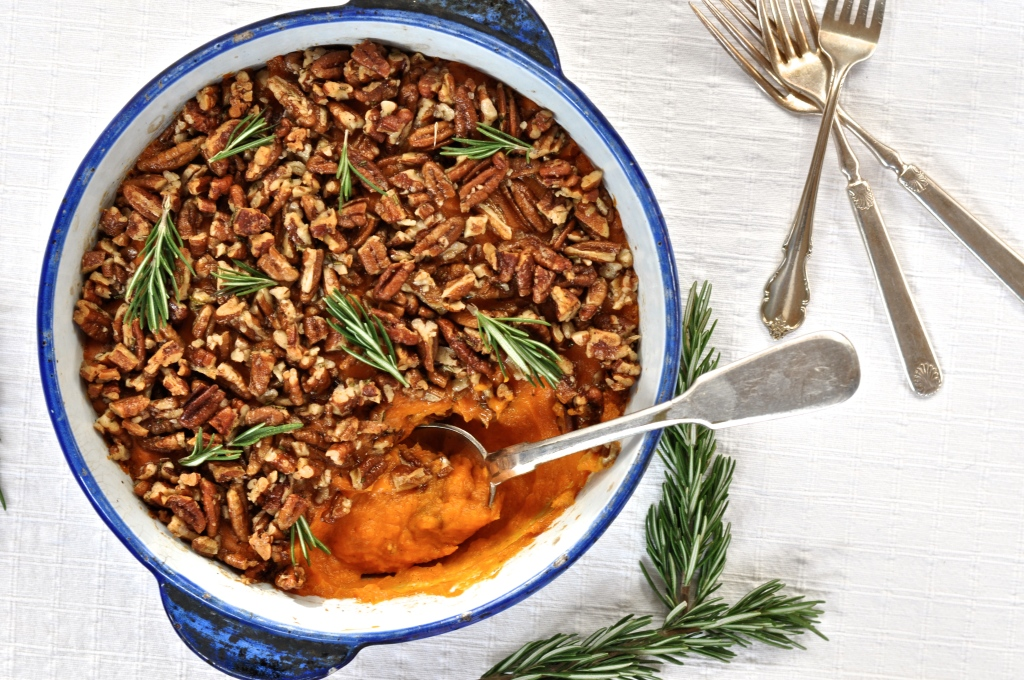 Sweet Potato Smash with Orange, Rosemary, Vanilla Bean and a Pecan Topping
