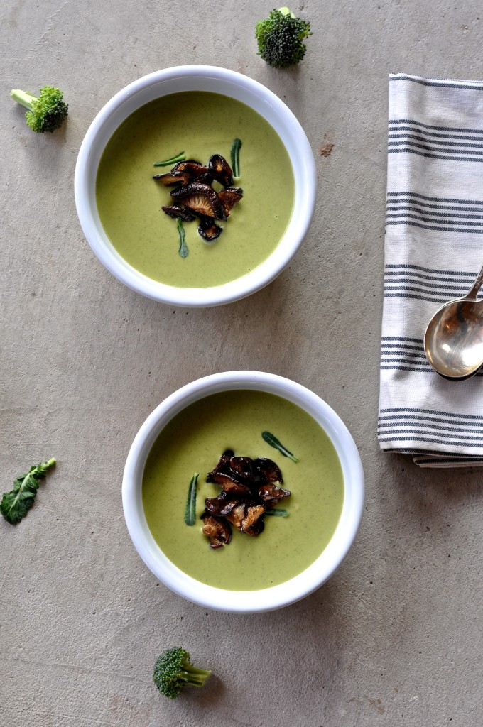 Vegan Broccoli Cheddar Soup with Shiitake Bacon
